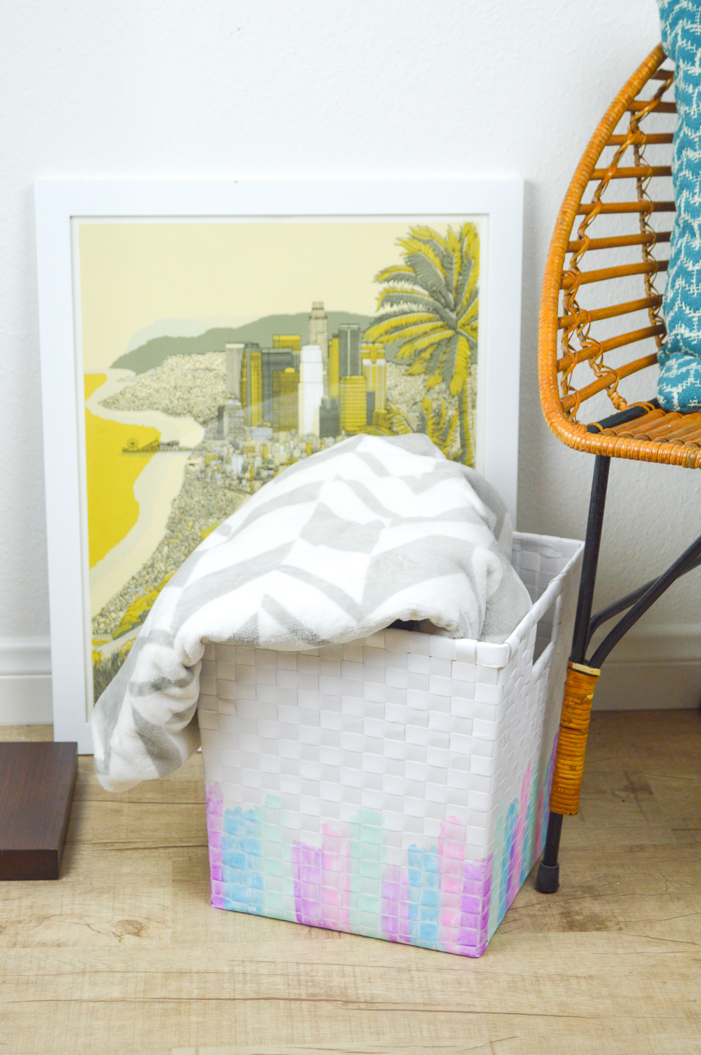 DIY Watercolor Basket Makeover | www.clubcrafted.com