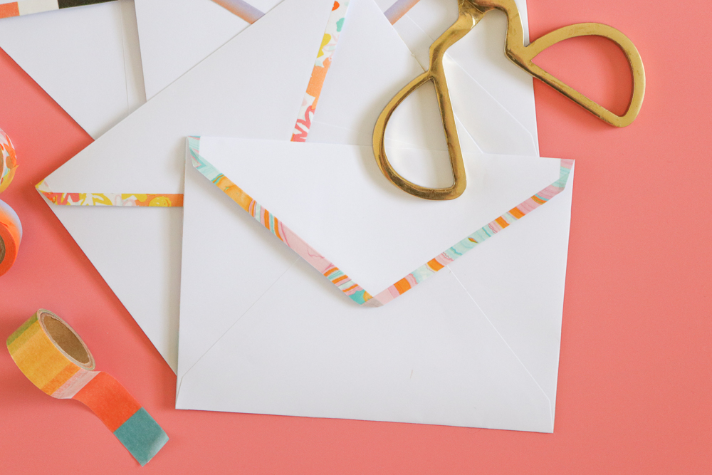DIY Washi Tape Lined Envelopes | Club Crafted
