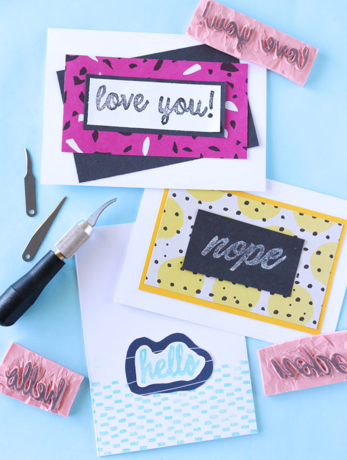DIY Carved Cursive Stamps