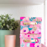 DIY Wrapping Paper Covered Boxes with Leather Handles