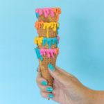 DIY Colorful Dripped Ice Cream Cones