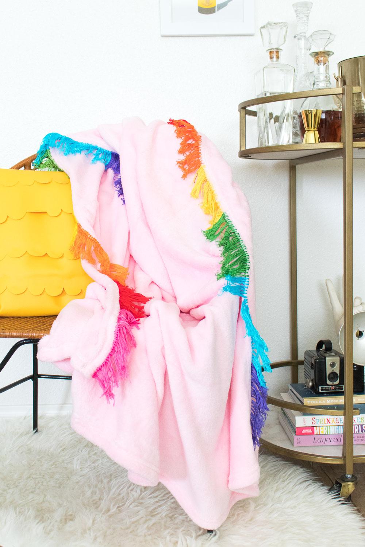 DIY Rainbow Fringe Blanket   Club Crafted