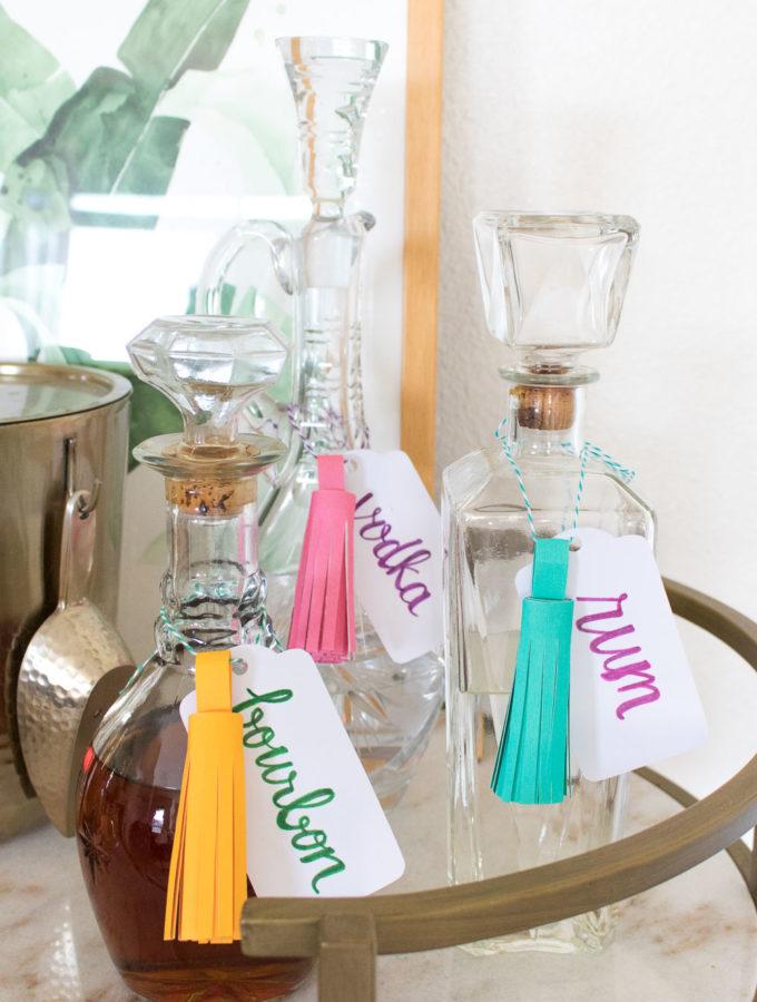 DIY Paper Tassel Decanter Tags