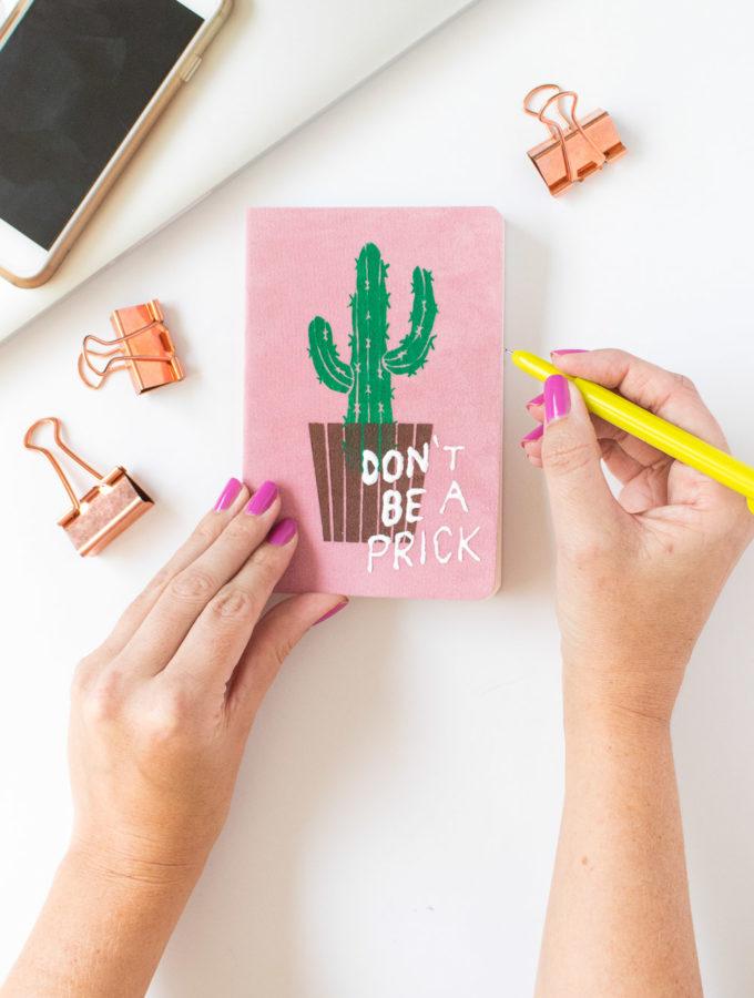 DIY Punny Cactus Notebook