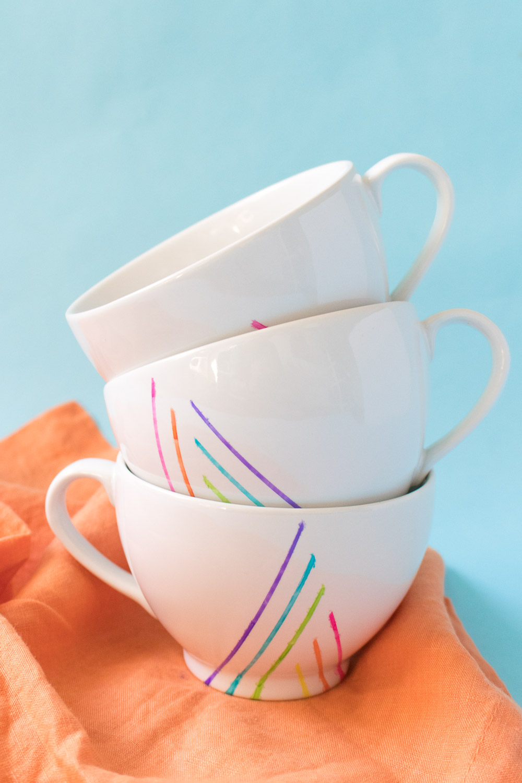 DIY Rainbow Striped Mugs
